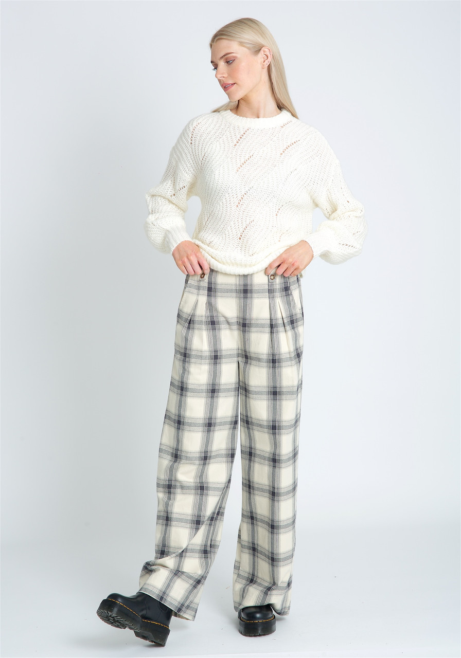 Wide Leg Rushed Check Trouser With Statement Buttons At Waist Band