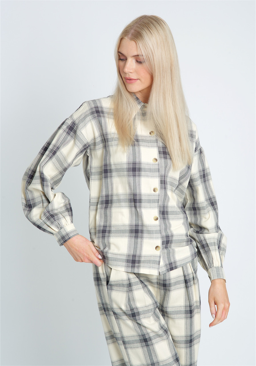 Button Down Blouse In Brushed Check With Puff