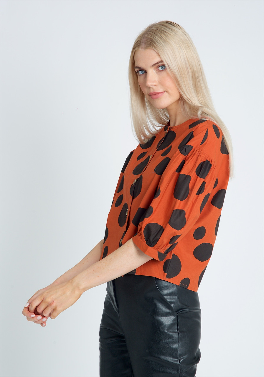Cropped Button Down Blouse With Extreme Puff Sleeves