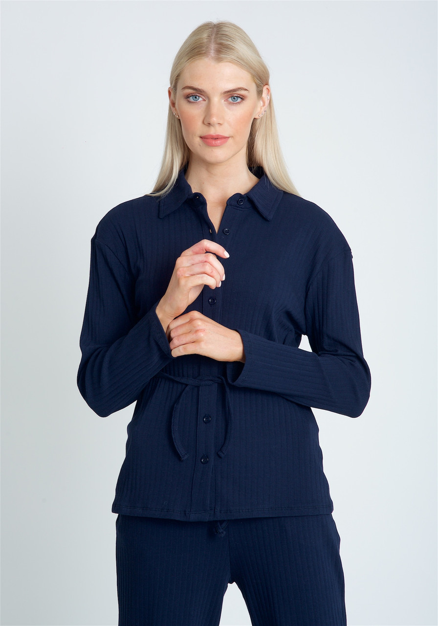 Button Down Blouse In Jersey RIB With Self Tie Waist