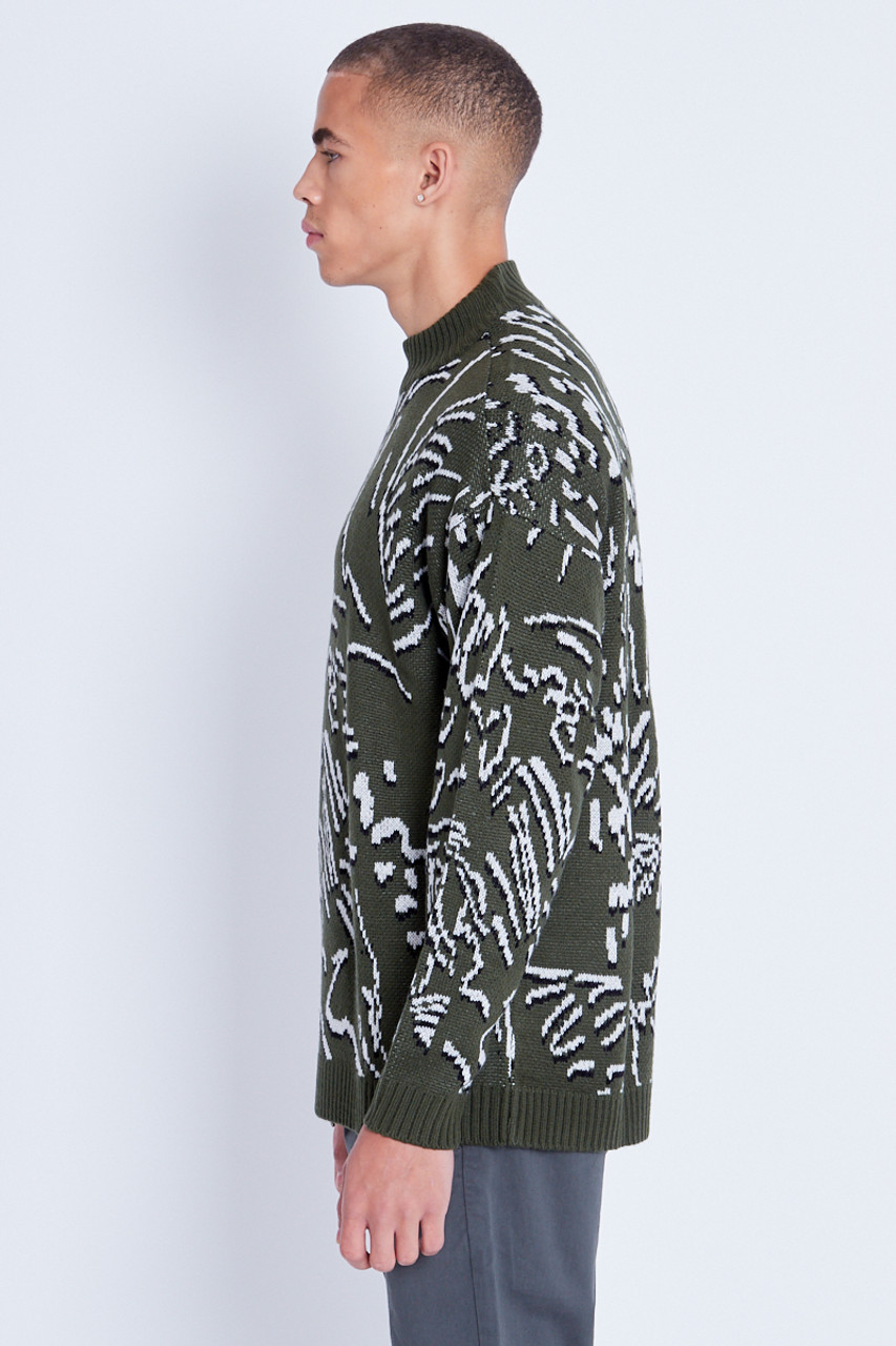 Oversized Jacquard Scribble Pattern Knitted Jumper