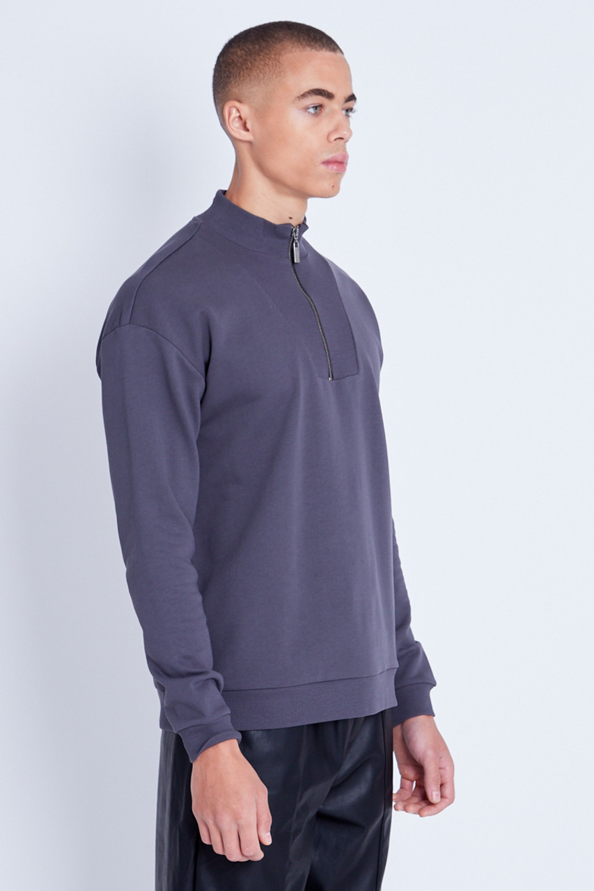 Sweatshirt With Rib High Neck