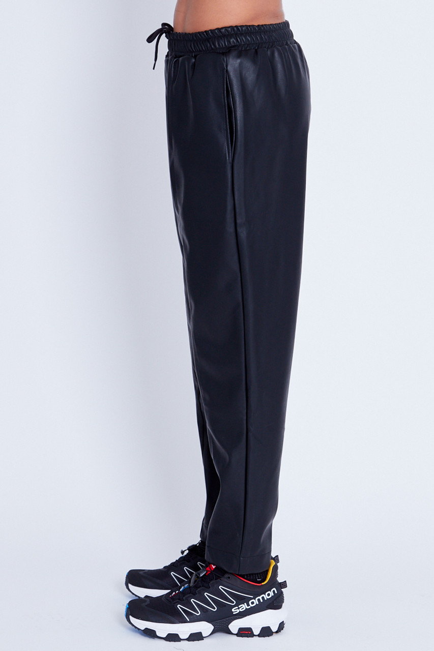 Vegan Leather Trouser With Pin Tuck