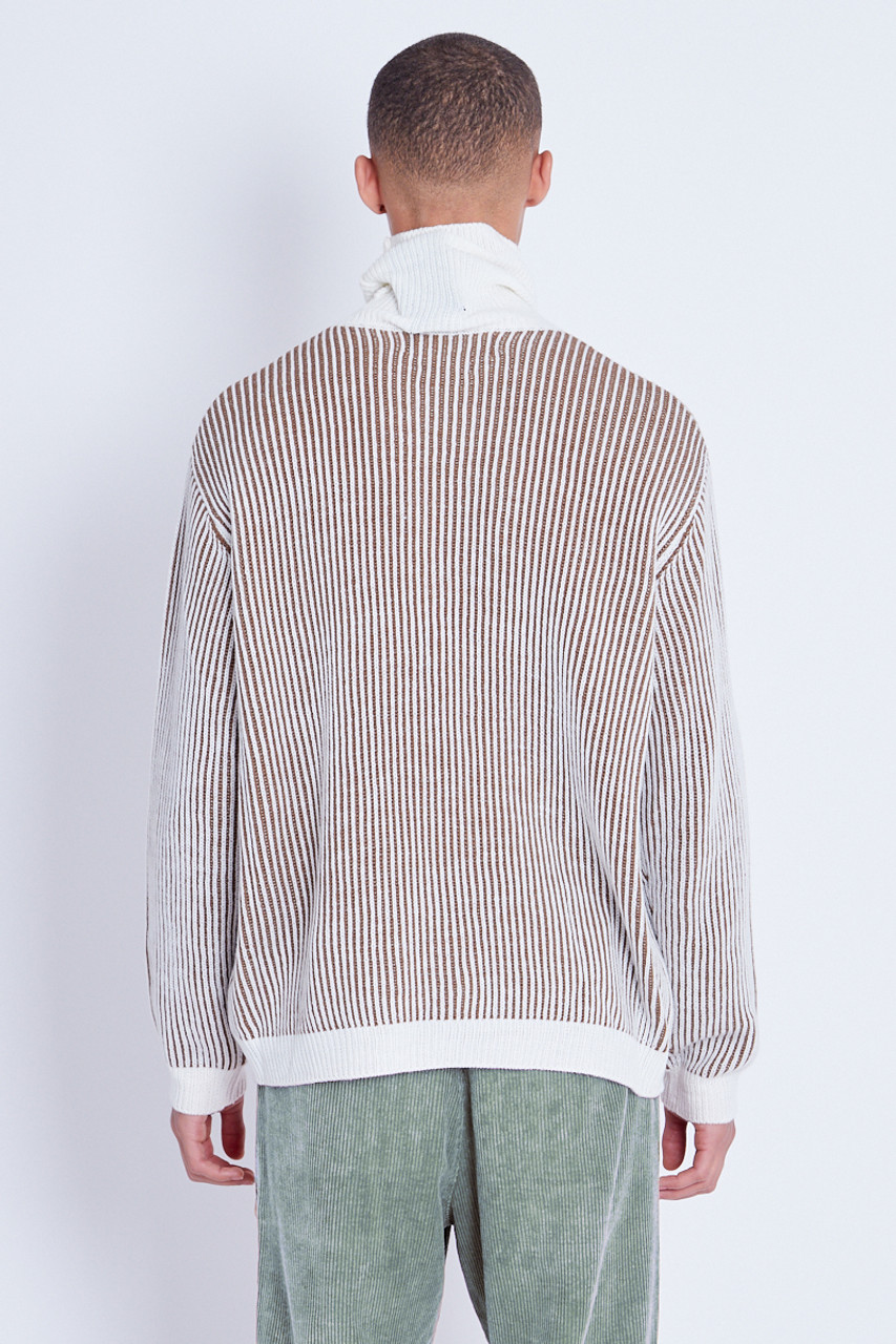 Stone Knitted Deep Rib Jumper With Roll Neck