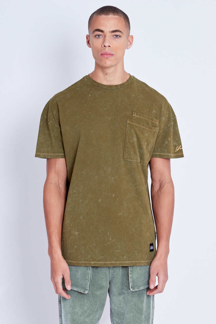 T-Shirt With Pocket Detail In Heavy Wash