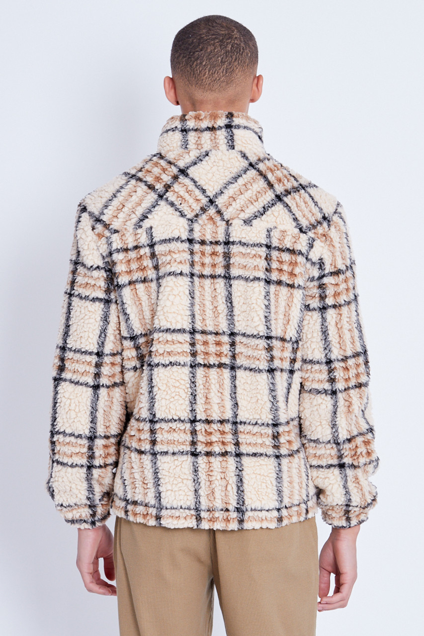 Beige Check Sherpa Jacket