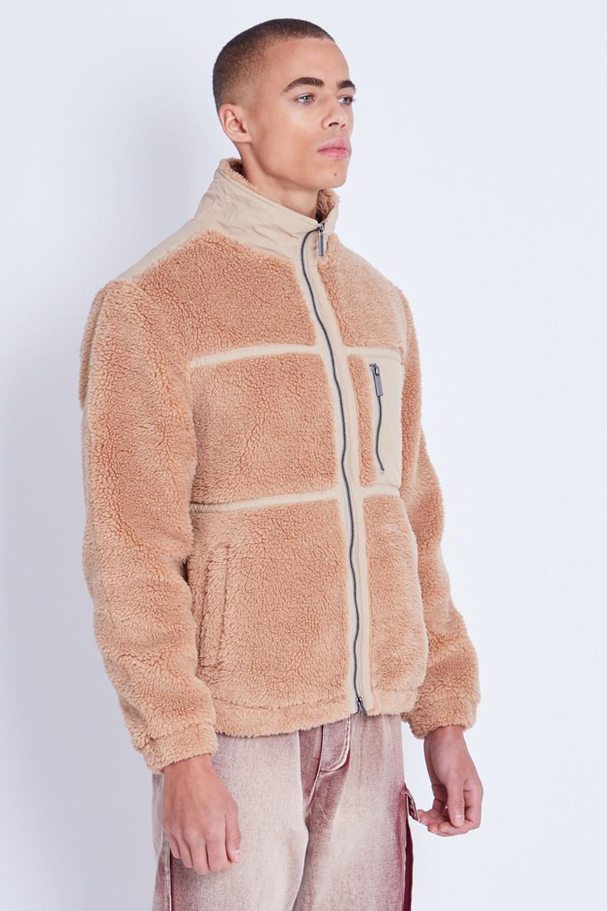 Sherpa Jacket With Nylon Trim