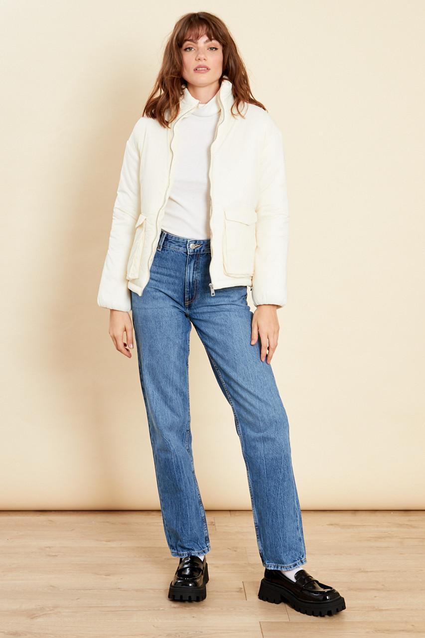 Cream Oversized Jacket With Pockets