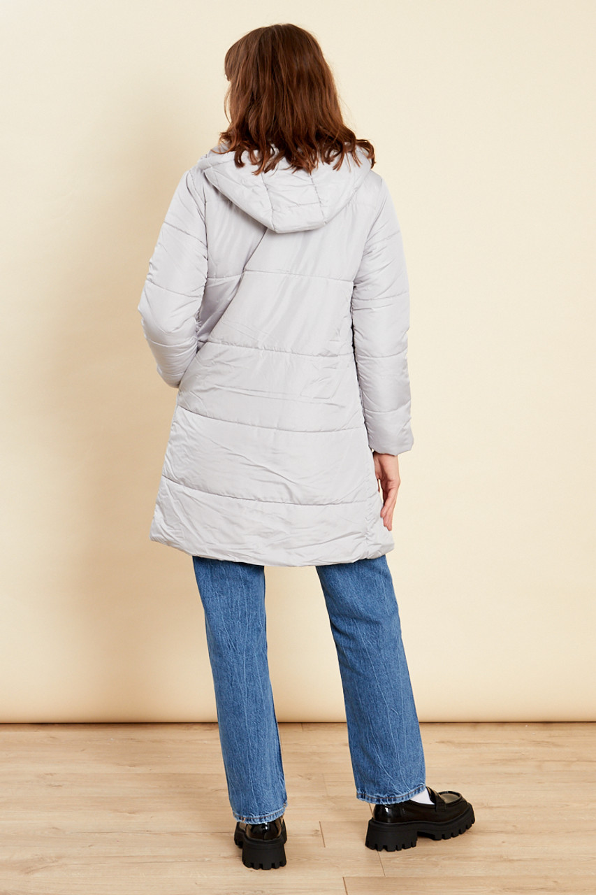 Grey Long Puffer Coat With Hood