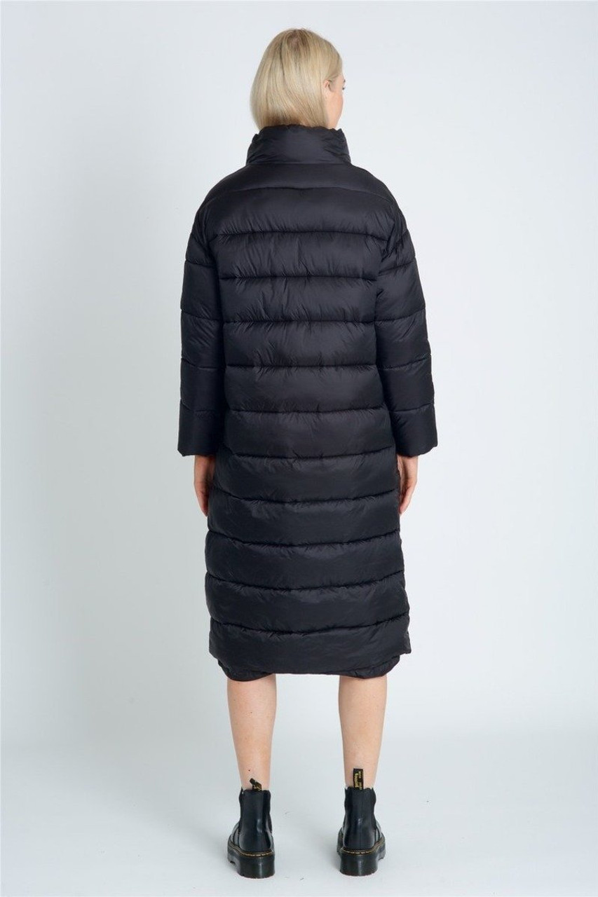 Longline Padded Coat With High Neck Statement Tab Detail And Pockets