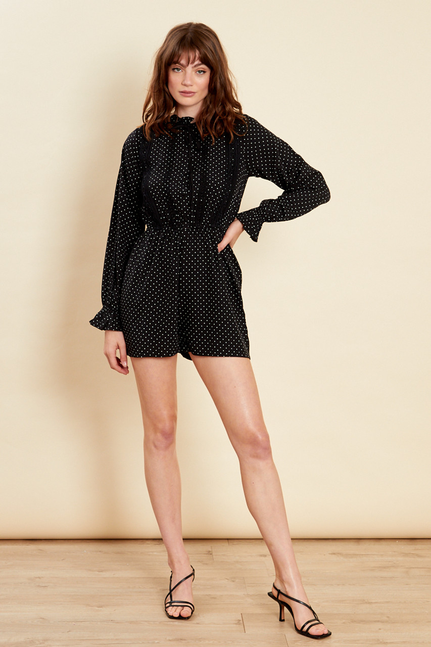 Black With White Dot Lace Trim Playsuit