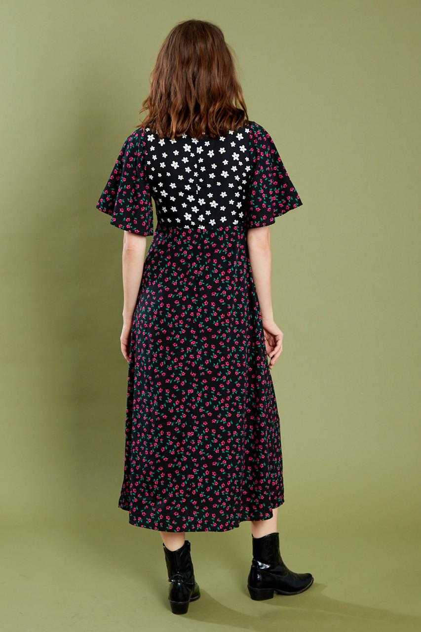 Black Angel Sleeve Midaxi Dress