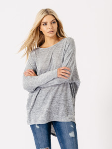 Jersey Long Sleeves Dip Hem Top in Grey