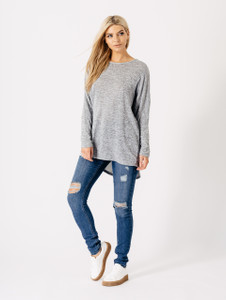 Jersey Long Sleeves Dip Hem Top in Grey