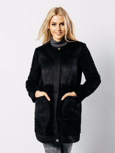 Black Borg Block Cocoon Coat