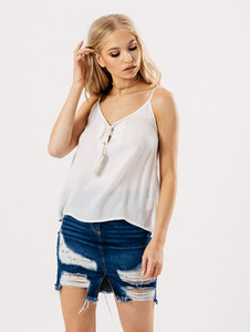 White Cheesecloth Cami Top With Tassel Ties
