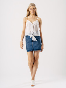 White Button Front Hem Cami