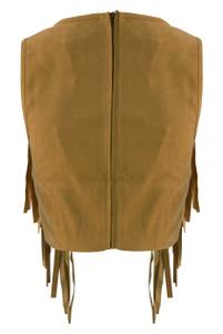 Camel Sudette Crop Top With Tassel Detail