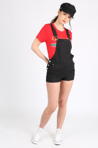Black Short Dungaree With Front Patch Pocket