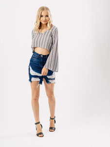 Mono Stripe Crepe V Neck Flared Sleeve Crop Top