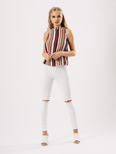 Multi Stripe Sleeveless Shell Top