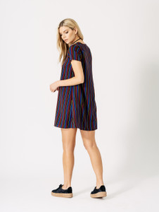 Burgundy & Blue Stripe V Neck Swing Dress