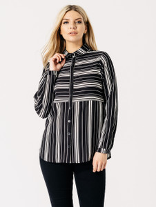 Monochrome Stripe Print Button Front Shirt