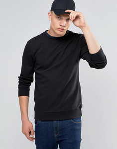 Black Long Sleeve Crew Neck Ribbed Sweater