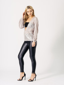 Gold Metallic Plunge V Neck Sheer Long Sleeve Top
