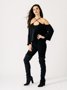 Black Strap Cold Shoulder Flute Sleeve Top