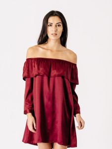 Wine Satin Bardot Frill Dress
