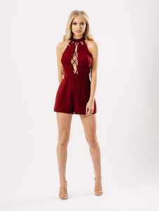 Wine Choker Neck Tie Front Playsuit