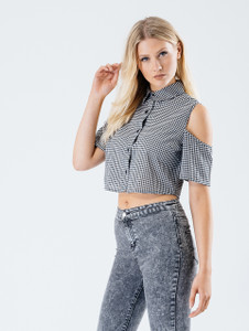 Monochrome Gingham Cold Shoulder Crop Shirt