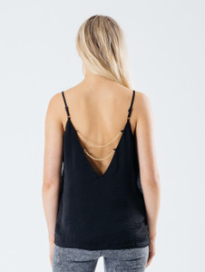 Black Double Chain Detail Cami Top