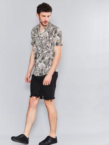 Black Palm Print Cuban Collar Shirt