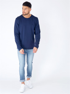 Navy Long Sleeve Basic Raw Edge Top