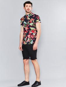 Black Bright Palm Print Short Sleeve Shirt