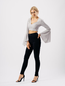 Grey Cross Front Frill Sleeve Crop Top