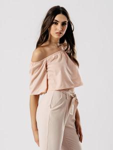 Blush Bardot Short Flare Sleeve Crop Top