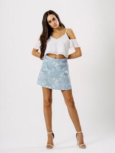 Light Blue Printed Mini Skirt