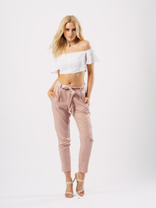 White Bardot Button Front Crop Top