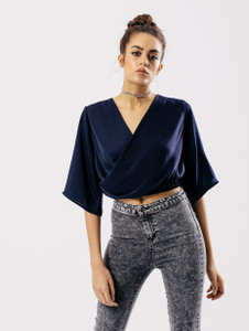 Navy Wrap Front Crop Top