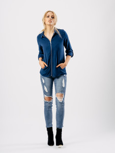 Blue Zip Front Bomber Style Top