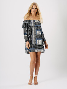 Blue Printed Bardot Frill Dress
