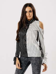 Contrast Monochrome Stripe Cold Shoulder Shirt