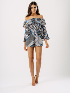 Multi Printed Bardot Layered Flare Sleeve Playsuit