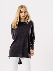 Charcoal Jersey Long Sleeves Dip Hem Top