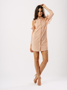 Blush Cold Shoulder Frill Detail Shirt Dress