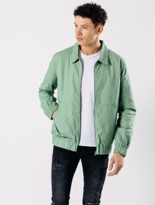 Green Oversized Pockets Harrington Jacket