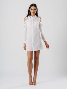 White Cold Shoulder Frill Detail Shirt Dress